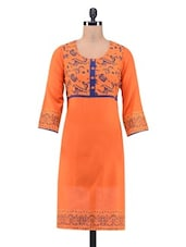 Orange Cotton Printed Kurta With Non-functional Buttons - By