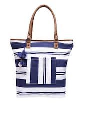 Blue Yarn Dyed Striped Canvas Tote Bag - By