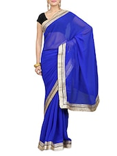 Solid Royal Blue Chiffon Saree - By