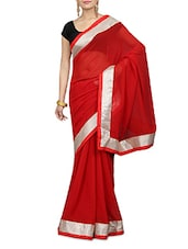 Solid Red Faux Georgette Saree - By