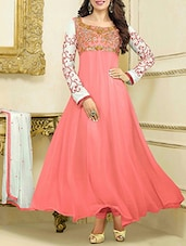 Peach Embroidered Georgette Anarkali Suit Set - By