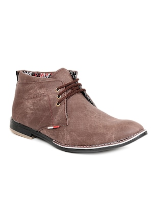 brown fabric & synthetic lace up shoes -  online shopping for Shoes