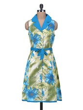Multicolored Floral Printed Collared Cotton Dress - By