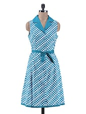 Teal Blue Polka Printed Collared Cotton Dress - By