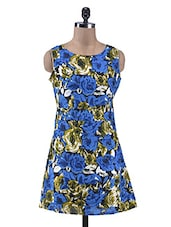 Multicolored Floral Printed Sleeveless Cotton Dress - By