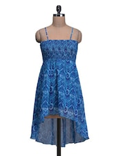 Azure Polyester Printed High-low Dress - By
