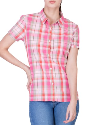 multicolored checkered satin regular shirt -  online shopping for Shirts