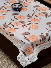 Azalea Eva 8 Seater Floral Printed Table Cover , White , Pack Of 1 - By