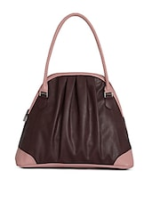 Brown And Pink Leatherette Handbag - By
