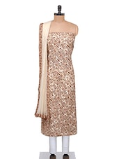 Light Brown Floral Embroidered Cotton Suit Set - By