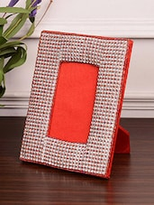 Red And Silver Polybeaded Wooden Photo Frame - By