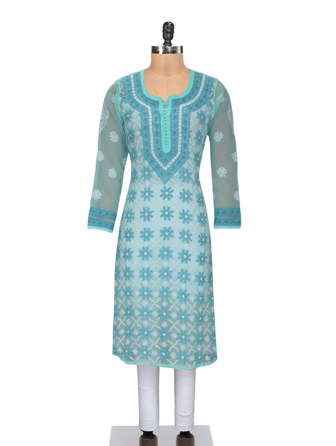 Turquoise Cotton Chikankari Kurta - By