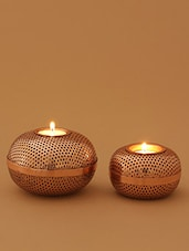 Brown Gold Mesh Tea Light Holder - Set Of Two - By