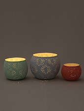 Multi Moroccan Iron Tea Light Holder - Set Of Three - By