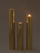 Brown Pillar Brass Steel Tea Light Holder - Set Of Three - By