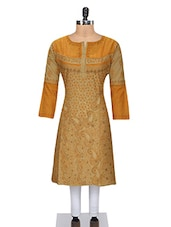 Beige Cotton Chikankari Kurta - By