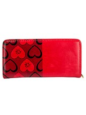 Red And Black Faux Leather Clutch - By