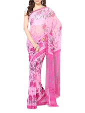 Pink Printed Chiffon Saree - By