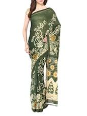 Green Printed Chiffon Saree - By