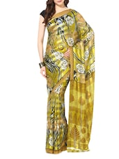 Green Printed Chiffon Saree - By