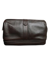 Black Leather Travel Toiletry Pouch - By