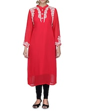 Red Faux Georgette Kurti - By