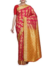 Red Silk Saree With Blouse Piece - By