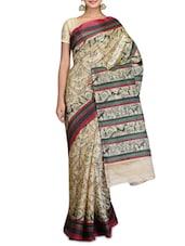 Beige Art Bhagalpuri Ghicha Silk Warli Print Sari - By