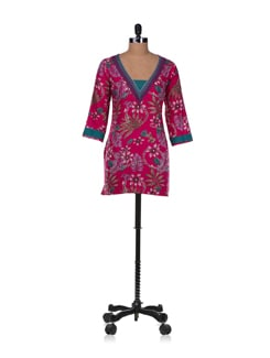 Red Floral Cotton Cambric Kurta - Diva