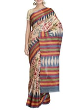 Beige Printed Art Bhagalpuri Ghitcha Silk Saree - By