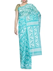 Blue And White Handloom Cotton Jamdani Sari - By