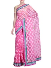 Light Pink Net Patola Jacquard Sari - By