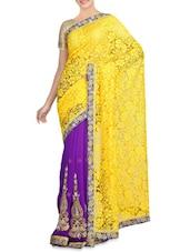 Purple Net Brasso Chiffon Embroidered Sari - By
