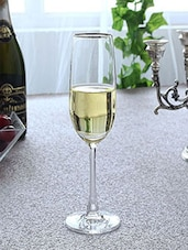 Silver Rimmed Glass Champagne Flutes (Set Of 6) - By