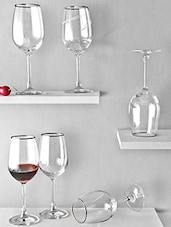 Silver Rimmed White Wine Glasses (Set Of 6) - By