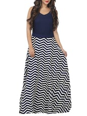 navy blue chevron printed crepe maxi dress -  online shopping for Dresses