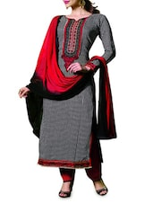 Black And Red Embroidered Unstitched Suit Set - By