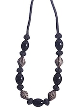 Black Embellished  Yarn Necklace - By