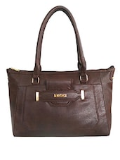Brown Faux Leather Shoulder Bag - By