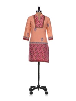 Pink Printed Cotton Cambric Kurta - Diva