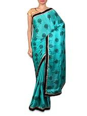 Aqua Green And Black Chiffon Printed Sari - By