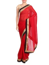 Red Faux Georgette Saree With Gold Border - Mirchi Fashion