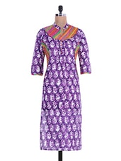 Printed Purple Long Cotton Kurta - By
