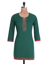 Green Cotton Sequined Kurta - By