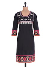 Black Cotton Printed Kurta With Gota Patti - By