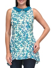 Blue And White Polyester Printed Tunic - By
