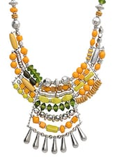 Yellow Metallic Embellished Necklace - By