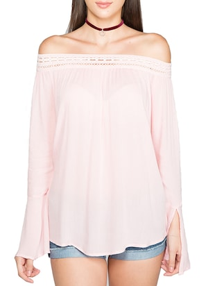 NOBLE FAITH Soft Pink lace bardot Top -  online shopping for Tops