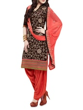 Brown And Peach Cotton Embroidered Suit Set - By