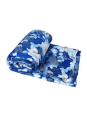 Blue Floral Print Poly Cotton Single Bed Quilt -  online shopping for Quilts and comforters